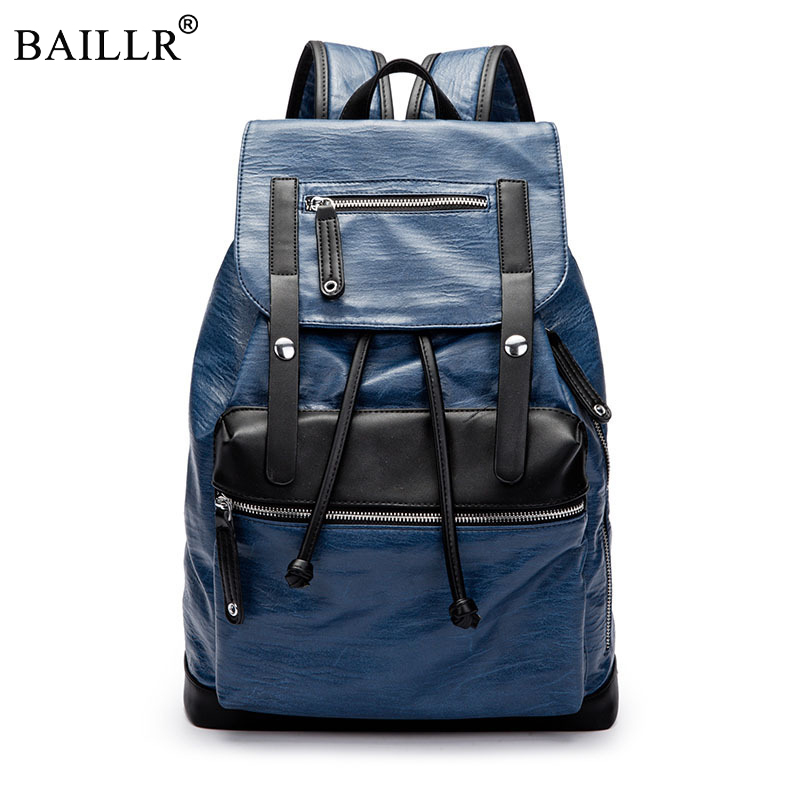 New Pretty Style String PU Leather Men Black 14 inches Backpack Fashion Male Casual Boys School Shoulder bags for Men's Backpack