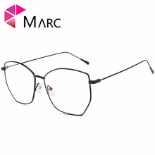 MARC 2018NEW Glasses Frame WOMEN Men Vintage Metal Lens Optical Suqare Plain Alloy Resin solid Clear 1074