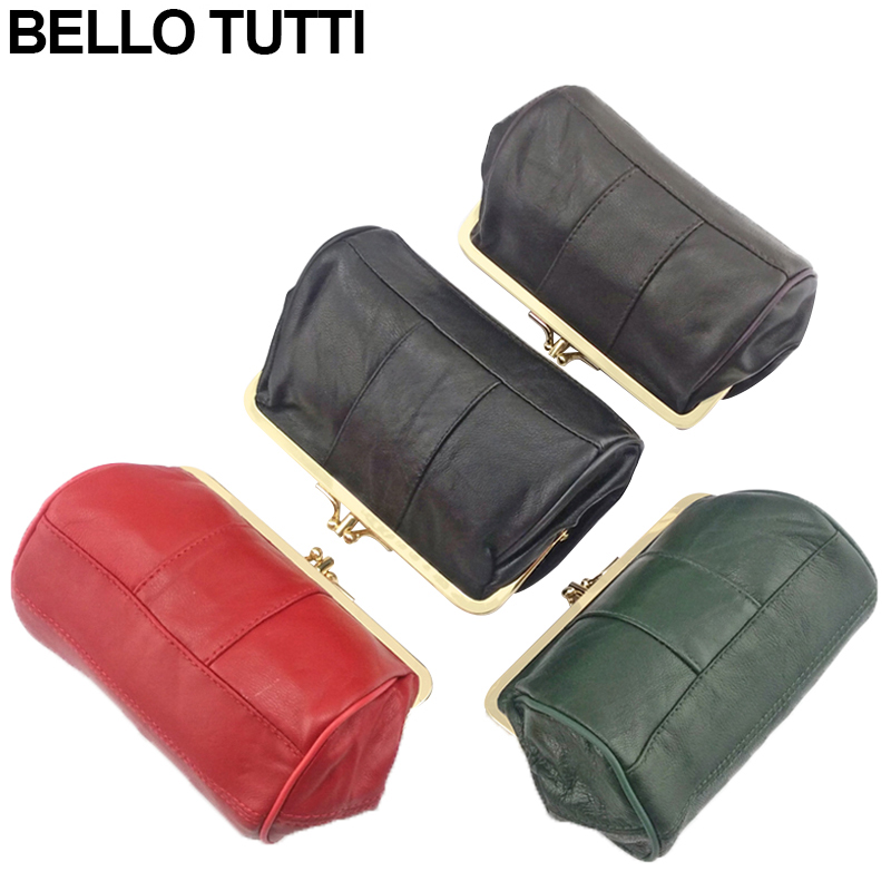 BELLO TUTTI High Quality Genuine Leather Women Mini Wallet Sheepskin Leather Coin Purse Coin Credit Card Holder Metal Kiss Lock brand high quality business genuine leather men wallet credit card holder black real leather vertical purse with coin pocket 50