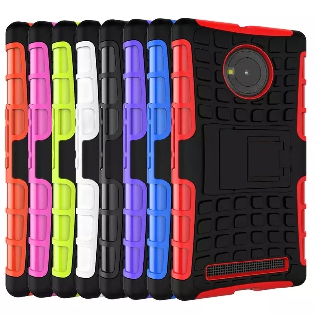 Shockproof Rugged Hybrid Rubber Hard Case Cover With Stand For Micromax Yu Yuphoria