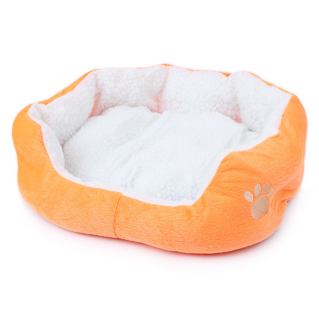 Candy Color Soft Cotton Cat Dog Bed Winter Warm Teddy Cat House Kitten Cat Sofa Bed Pet House Mat for Small Medium Dog Cat 1