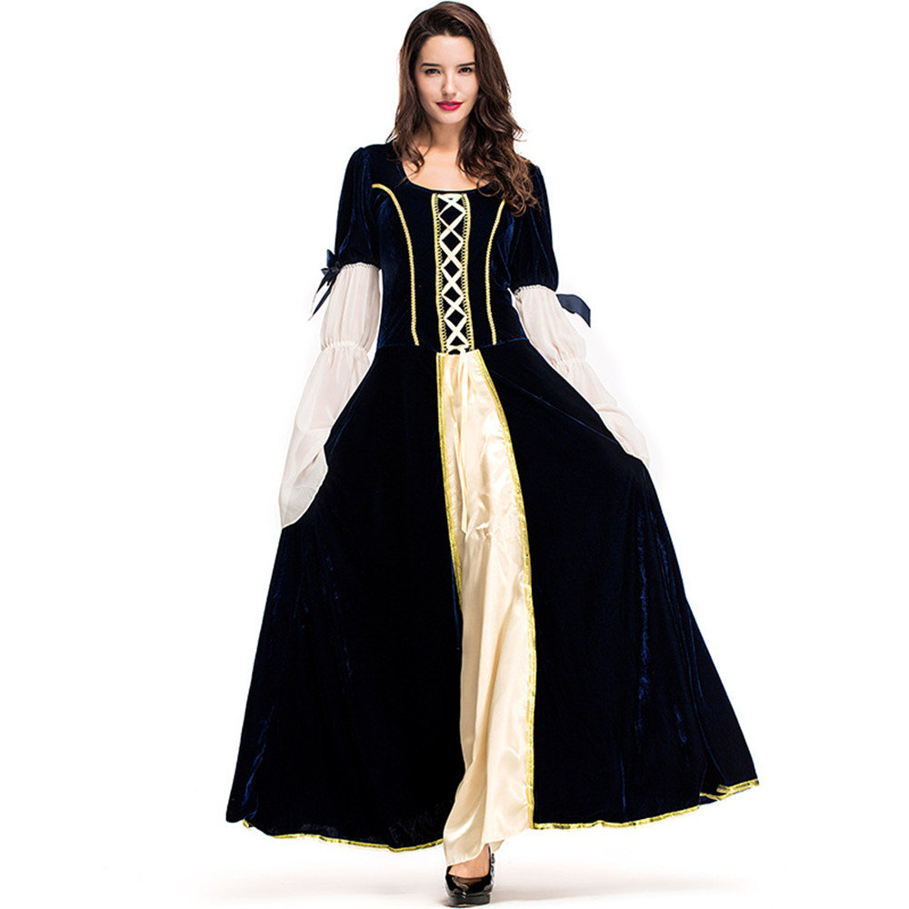 Cosplay médiévale huile tissu longue Maxi femme rétro robe Renaissance robes Europe gothique à volants jupe victorienne