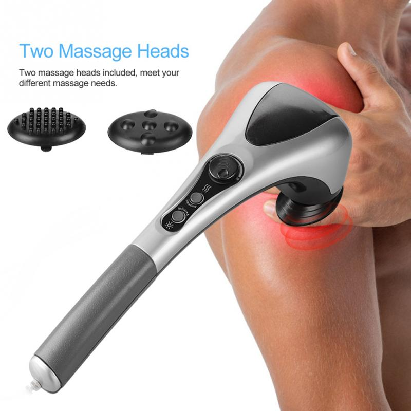 Double Head Electric Full Body Massager Neck Back Leg Massage Machine Variable Speed Far Infrared Handheld Body Massager Hammer double head massage stick waist neck full body massager infrared electric massage hammer description back care