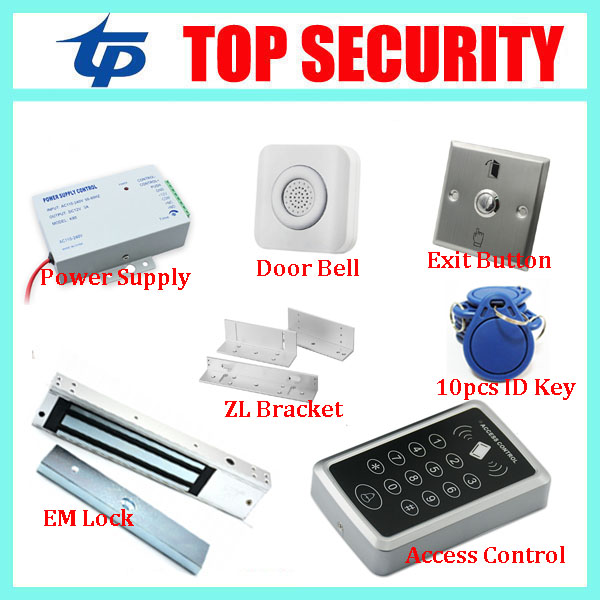 F007 125KHZ RFID card door access control reader standalone EM card access controller with 180KG EM lock and exit buttons wg input rfid em card reader ip68 waterproof metal standalone door lock access control with keypad support 2000 card users
