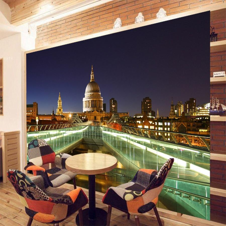 ロンドンミレニアム ブリッジ建物街並み壁紙用3 D壁リビングルームの