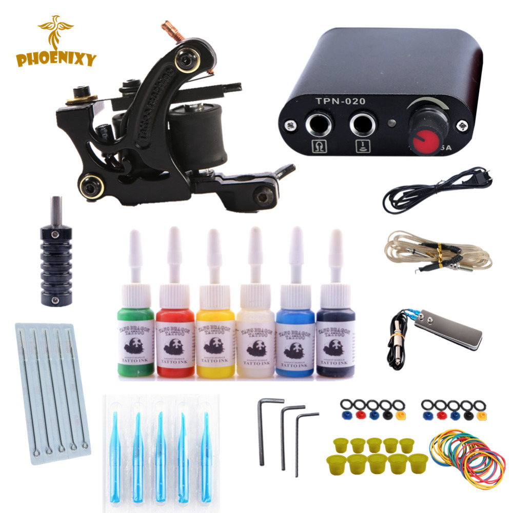 Professional Tattoo Kit Tattoo Machines 6 Colors Ink Power Supplies Box Grips Body Arts Supplies Needles Tattoo Beginner Kits europe god of darkness robert recommend gp self lock grips gp3 professional tattoo artist grip