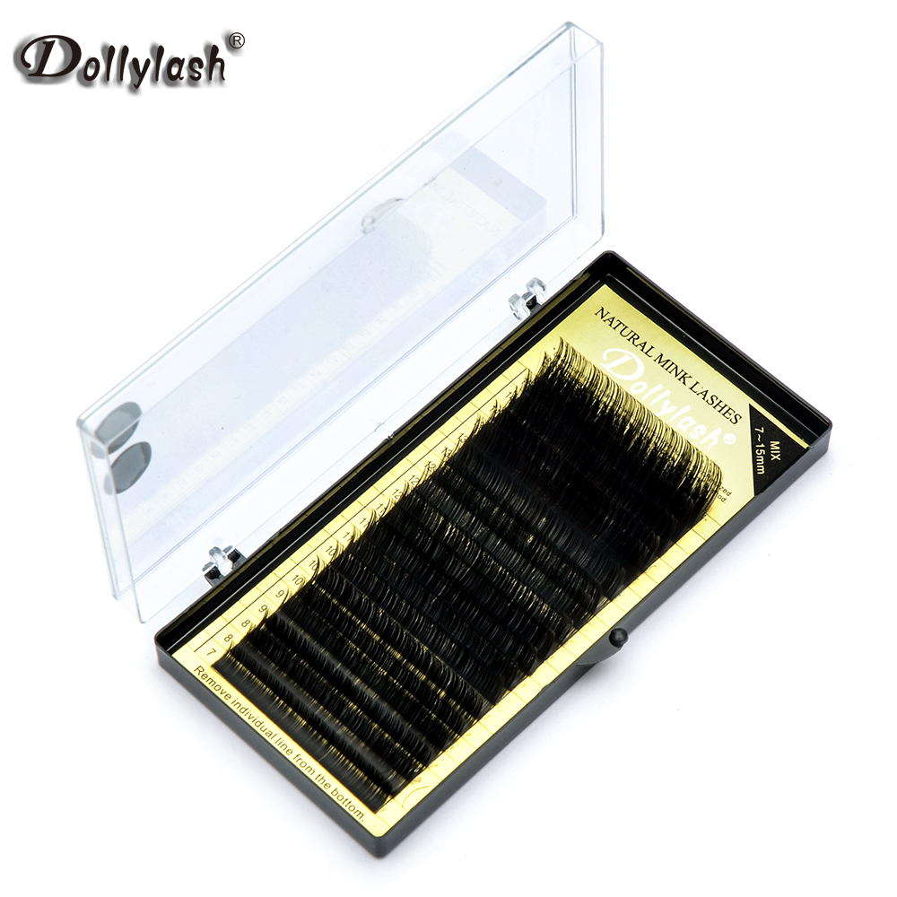 Dollylash 10 Plateau/lot Soie cils J B C D Curl 7-15mm Mix Longueur De Fourrure Faux extensions de Cils individuels Noir Eye Lashes