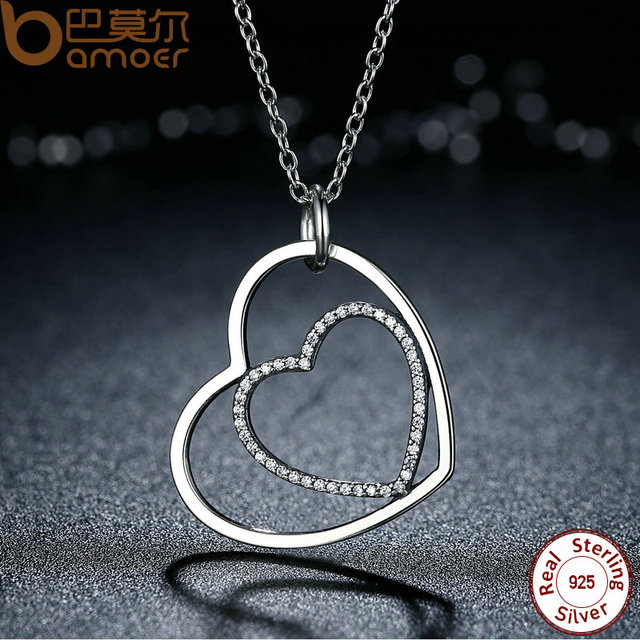 Sterling Silver Heart To Heart Pendant Necklace