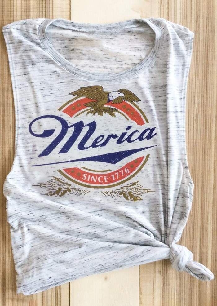 Femmes débardeur Merica sans manches t-shirt femme Harajuku basique gilet dames gris clair Festival hauts t-shirt surdimensionné 2019
