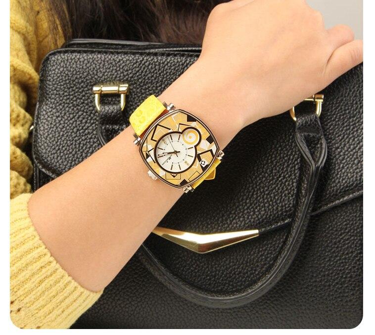 Reloj de pulsera de cuero neutro para mujer con patrones geométricos de nuevo diseñador de melisa Vintage cuadrado Feminino Montre F12190 - 5
