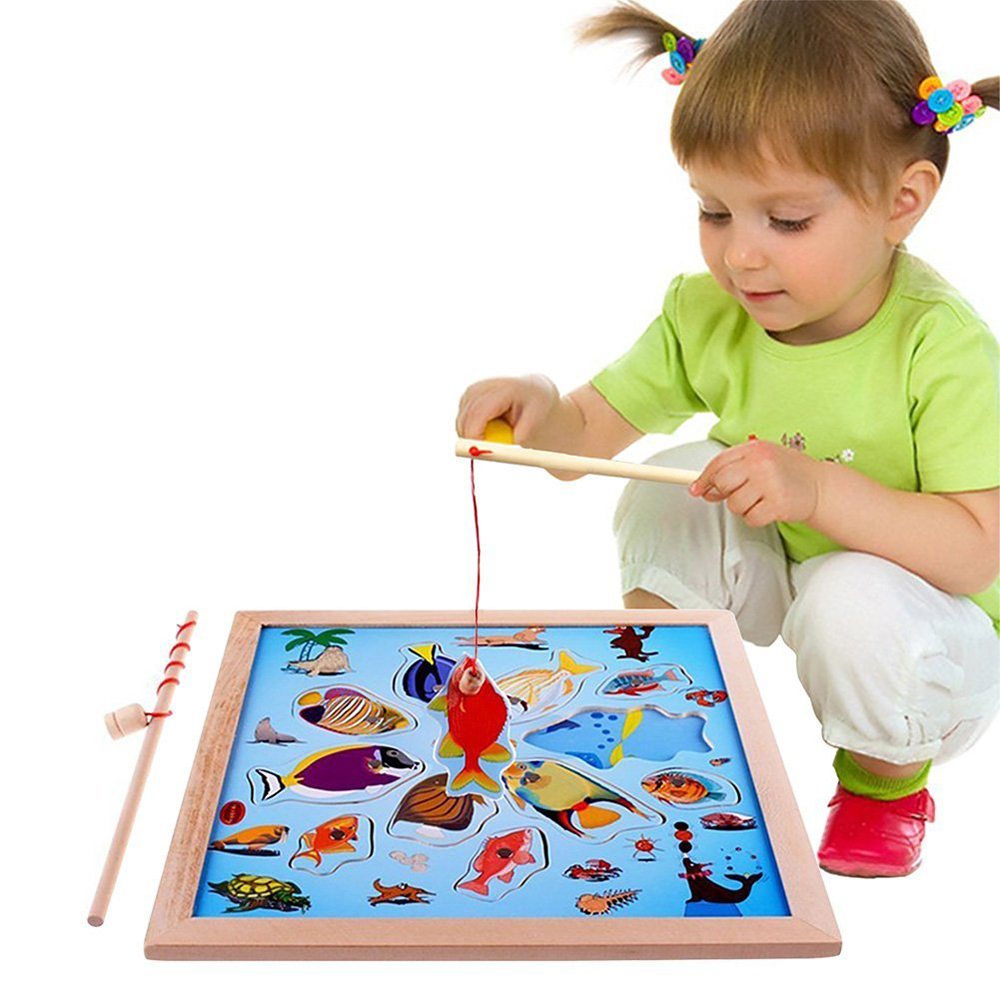 Liyuan Magnetic Wooden Puzzle Fishing Game Playset Learning & Education Toys with 11 Fishes+2 Poles Toy Gift for Toddlers Kids