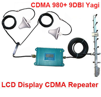 LCD Display 980 CDMA 850Mhz Booster W/ 22M Cable+2 Indoor Antennas,850Mhz CDMA Repeater Signal Amplifier 850Mhz Repeater