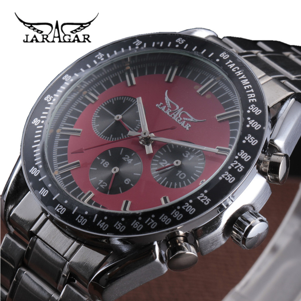 Man Mechanical Watch Automatic Self Wind Wristwatch Stainless Steel 2016 JARAGAR New Style Sport Military Watches Male Clock women favorite extravagant gold plated full steel wristwatch skeleton automatic mechanical self wind watch waterproof nw518