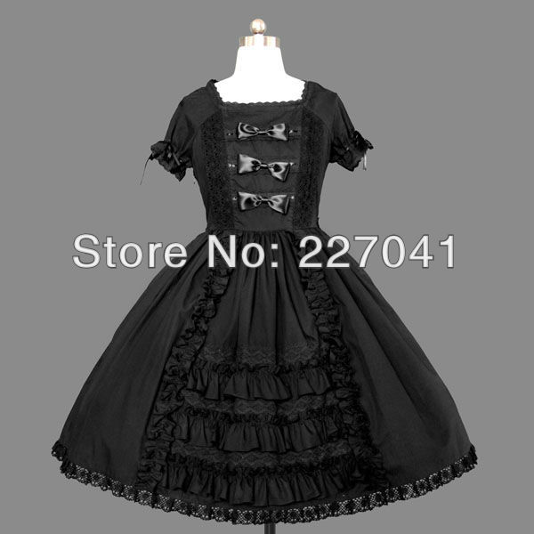 Japanese Girl Lolita anime clothes Halloween black cosplay costume dress Free Shipping A0147