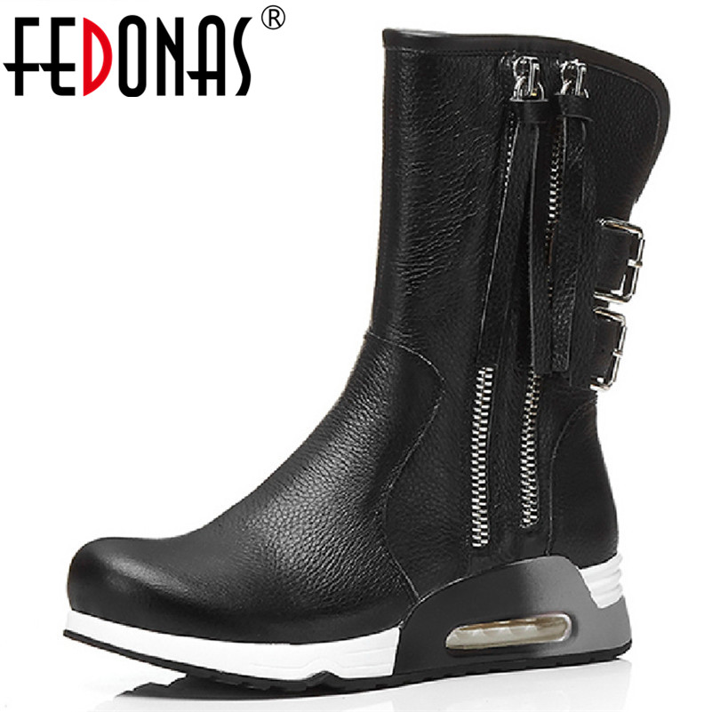 FEDONAS Brand Women Mid-calf Boots Buckels Tassels Autumn Winter Martin Shoes Woman Round Toe Platforms Casual Shoes High Boots