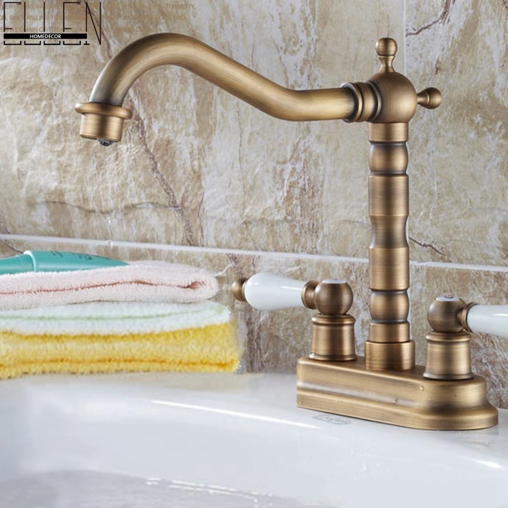 Double Handle Double Hole Bathroom Basin Faucet Antique Bronze American Standard Size