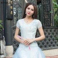 Kyqiao plus size kobiety clothing 2017 dziewczyny czeska świeże krótki rękaw v neck niebieski haft organza patchwork t shirt góry