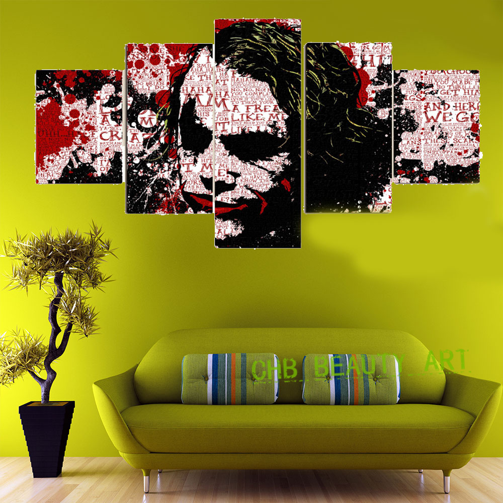 5 Panel Batman Comic Joker Art Canvas Painting Wall Pictures For ...
