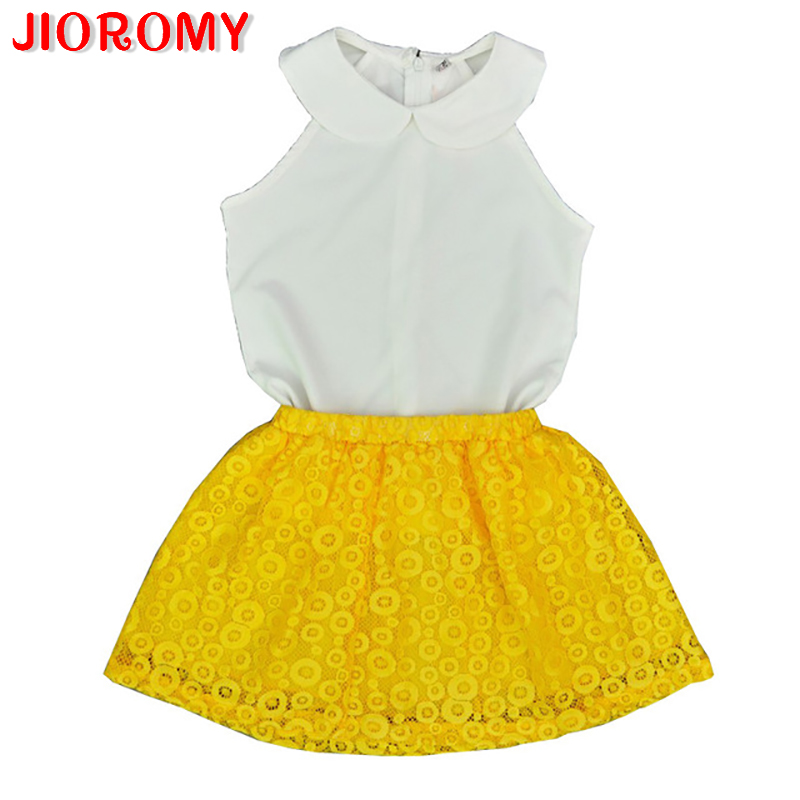 JIOROMY 2019Girls Sets Kid Baby Sleeveless Round Collar Top+Yellow Lace Skirts Suit Girls Outfits Princess girls clothing setsJIOROMY 2019Girls Sets Kid Baby Sleeveless Round Collar Top+Yellow Lace Skirts Suit Girls Outfits Princess girls clothing sets