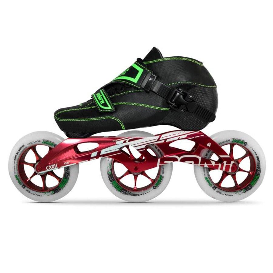 100% Original Bont Enduro 2PT 195 MM 2PF CXXV vitesse patins à roues alignées moulable en Fiber de carbone botte 3*125mm rouge roues magiques Patines