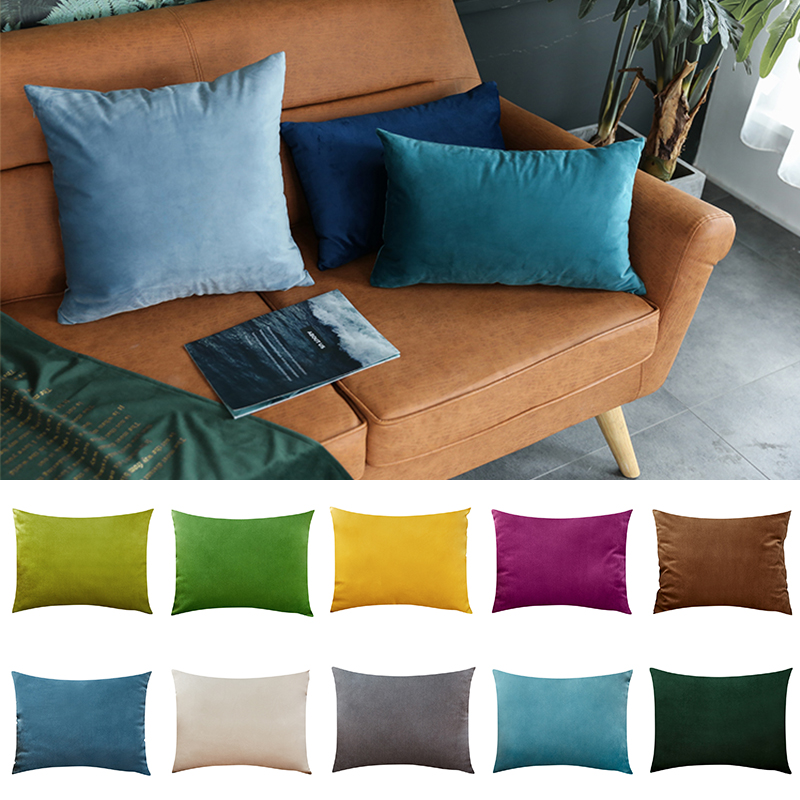 26colors Cushion Cover <font><b>30x50</b></font> Rectangle <font><b>Pillow</b></font> <font><b>Case</b></font> For Living Room Sofa Velvet Throw Pillowcase Home Decoration Kussenhoes Decor image