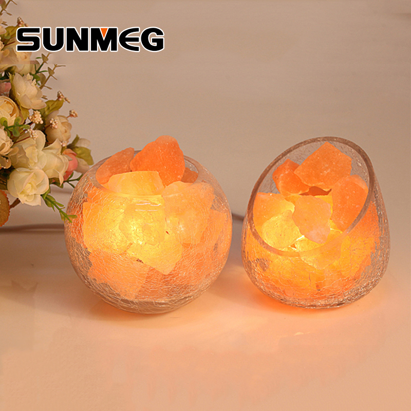 SUNMEG Himalayan Crystal Salt Rock Night Light Dimmable Crackle Glass Ball Table Desk Salt Lamp Air Purifier For Bedroom Therapy remote control led light creative monje smart air purifier wireless night lights sensor lamps gift table desk lamp