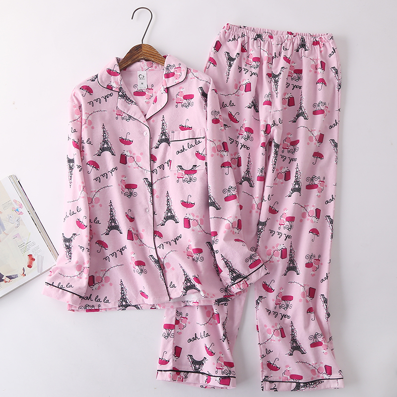 100% Cotton Pyjamas Women   Pajamas     Sets   Autumn Brushed Winter Warm Cute Cartoon Sleepwear Pijamas Mujer Pyjamas Womens Clothing