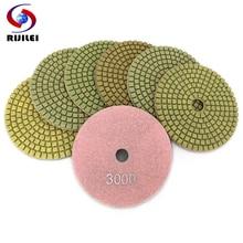 RIJILEI 7PCS/Set 4inch Diamond Polishing Pad Flower point 100mm Wet polishing pads for Stone Marble Abrasive pad HC13