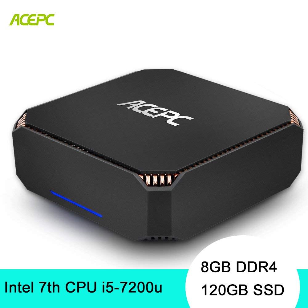 ACEPC CK2 ordinateur de bureau Mini PC Windows 10 Intel NUC Core i5 7200U 8 GB DDR4 120 GB SSD 2.4G 5G WiFi/BT4.2 4 K mini pc linux