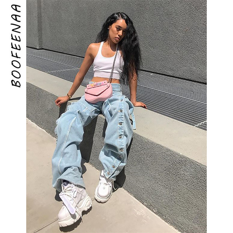 BOOFEENAA Button Lace-up High Waist Boyfriend   Jeans   Women Casual Denim Wide Leg Pants Bell Bottom Trousers Streetwear C55-CA56