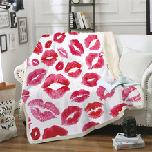 Sofa cushion Yoga mat Blanket Air Conditioner Thick Double-layer Plush 3D Digital Printing Lipstick Series