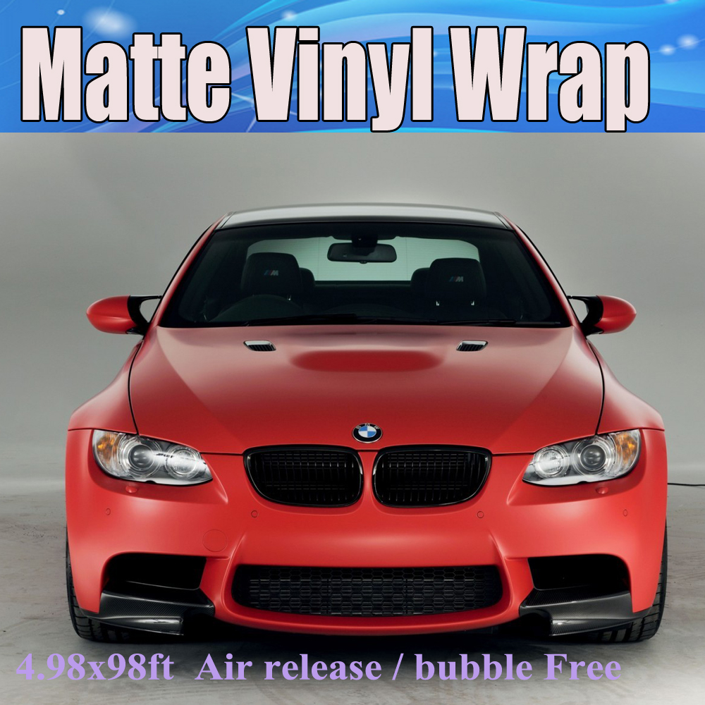 Red car sticker design - Satin Red Matte Vinyl Wrap With Air Bubble Free Matt Red Film For Car Vehcicle