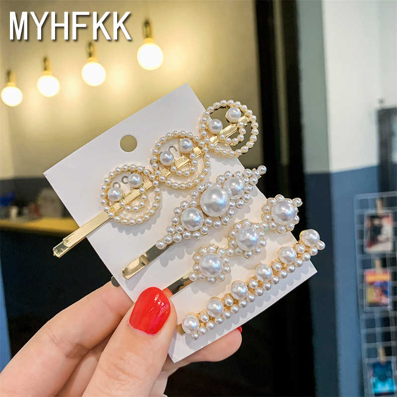 MYHFKK2019 latest pearl metal ladies hairpin popular headdress ladies headdress girl hair accessories fashion jewelry FJ003