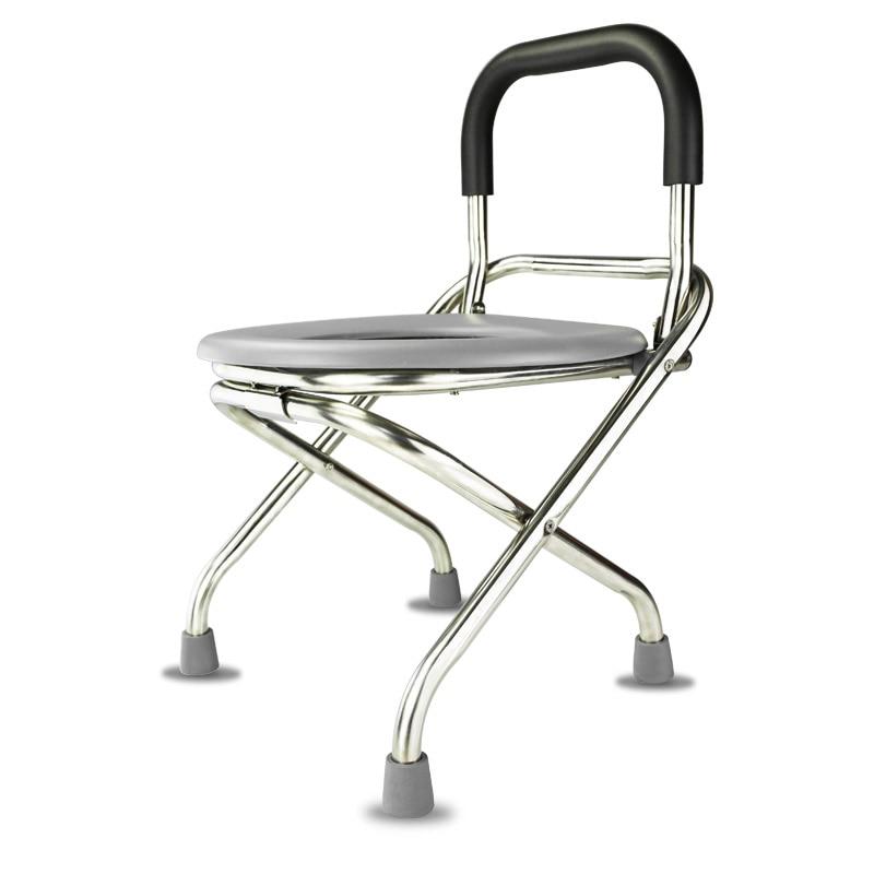 цены 1 Foldable Stainless Steel Toilet Seat for Elder Pregnant Women Portable Safe Stable Bath Chair with Anti-slip Pad 150kg Bearing