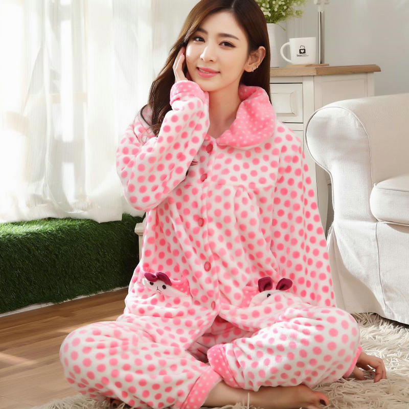 Plus Size 4XL Pyjamas Women   Pajamas     Set   Winter Thick Warm Flannel Sleepwear Suit Nightgown Female Cute Pink Pijama Mujer