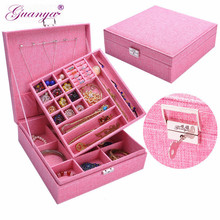 Купить с кэшбэком Guanya Brand Large Best Selling Linen Fabric Square Jewelry Simple layout Box Makeup Jewelry Gift Box organizer Display Case