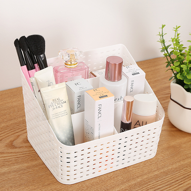 Multi-grid plastic box creative desktop makeup organize storage box cosmetic case remote control holder small objects Container