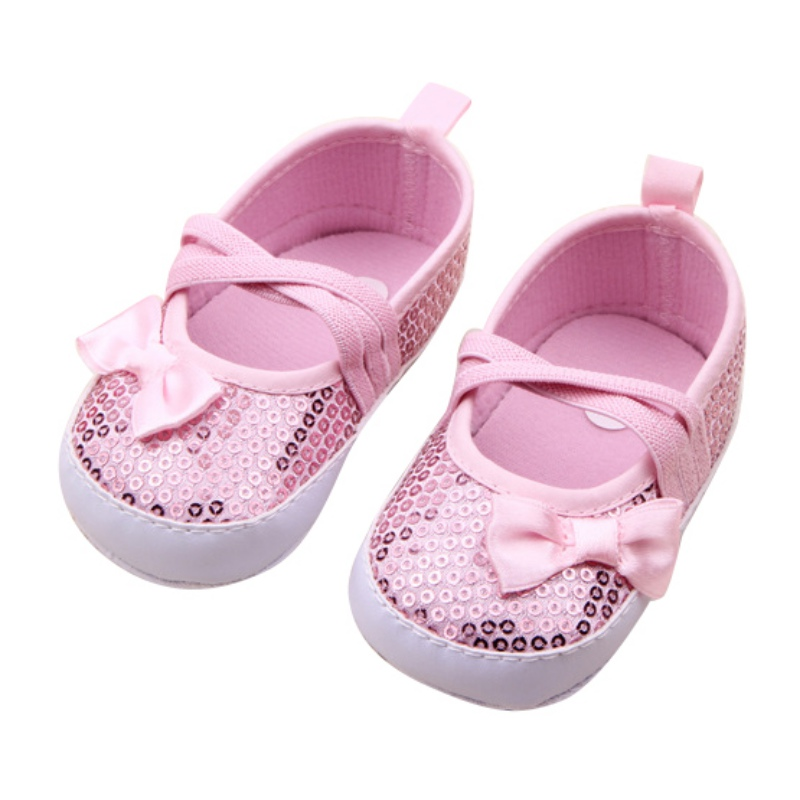 Baby Girl Shoes Toddler Cute Bow Elastic Band First Walkers Shoes For Newborns 0-12M