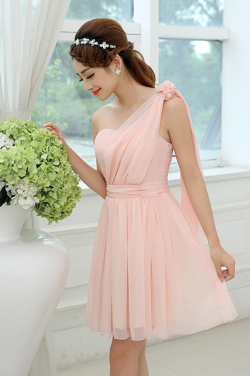 Un hombro Rosa vestido de dama de gasa corta longitud de la rodilla ...