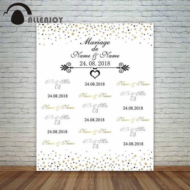 Allenjoy photography backdrops photocall wedding custom step repeat golden silver polka dots heart fotografia vintage background