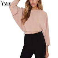 2017 New Summer Vintage Pink Ladies Top Crop Women Long Sleeve Blouses Backless Bow Blusas Plus