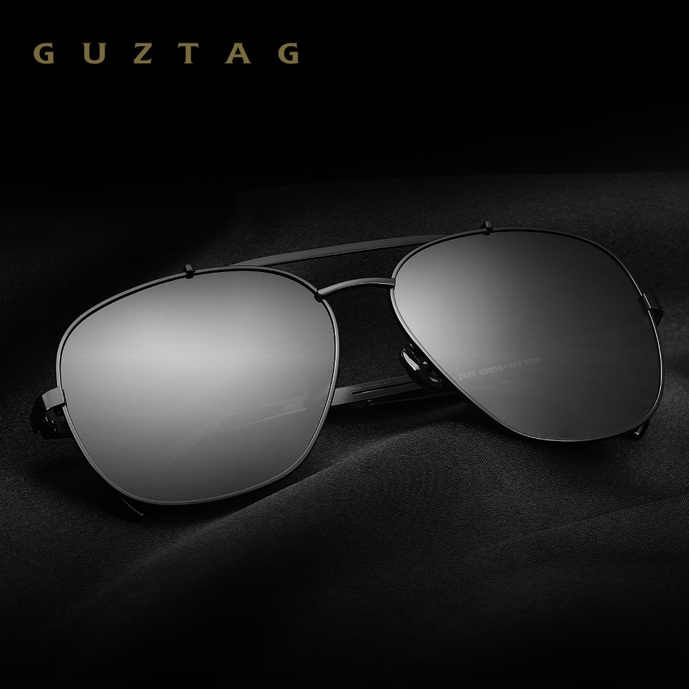 GUZTAG Fashion Classic Square Men's Polarized Sunglasses Stainless Steel Designer HD Eyewear Sun glasses UV400 For Men G2493