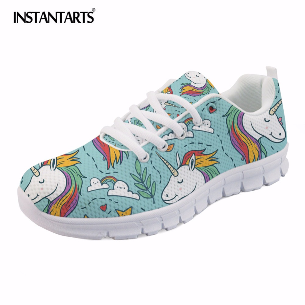 INSTANTARTS Casual Cartoon Women Flat Shoes Cute 3D Rainbow Horse Print Female Spring Mesh Flats Shoes Fashion Sneaker Shoes instantarts cute glasses cat kitty print women flats shoes fashion comfortable mesh shoes casual spring sneakers for teens girls