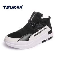 TOURSH Man Sneakers Sports Shoes PU Running Shoes Black Red Blue Jogging Sneakers Training Shoes Spring