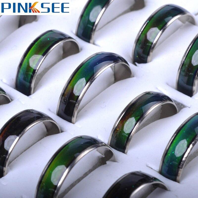 5 шт оптом кольцо настроения изменит цвет круглые кольца для женщин чувства эмоции кольца ювелирные изделия температурный браслет