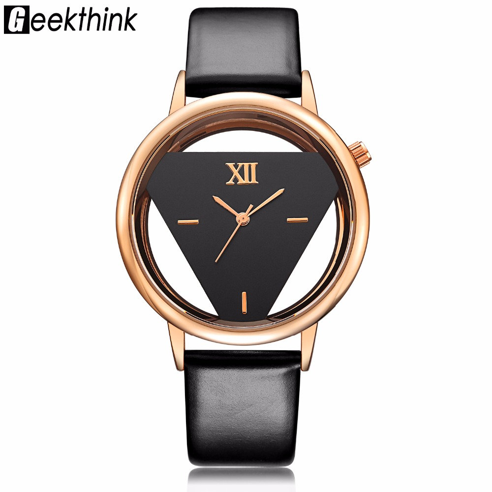 GEEKTHINK Hollow Style Luxury Brand Quartz Watch Kvinnor Dam Casual Dress Läderband Klocka Kvinnliga Flickor Trending