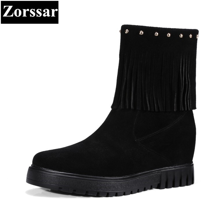 {Zorssar}2017 NEW winter fur Womens snow Boots cow suede platform Height Increasing ankle Boots fashion tassel women short shoes new style breathable mesh high visibility reflective traffic safety cycling vest printable words logo