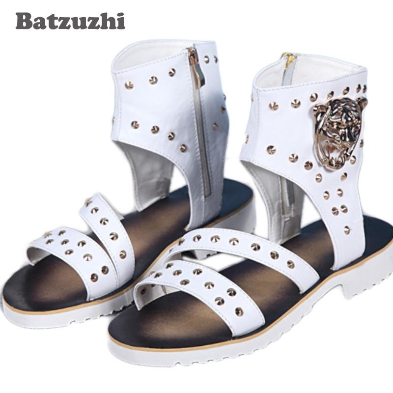2018 Rome Fashion Men Shoes Summer Leather Sandals Shoes Punk Male Gladiator Sandalias Sapato Masculino Zip Rivets, US16