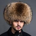 2016 Nueva piel de Mapache Verdadero sombrero Para Hombre invierno genuino oreja de cuero W lei tapa feng masculino engrosamiento de piel de zorro sombrero