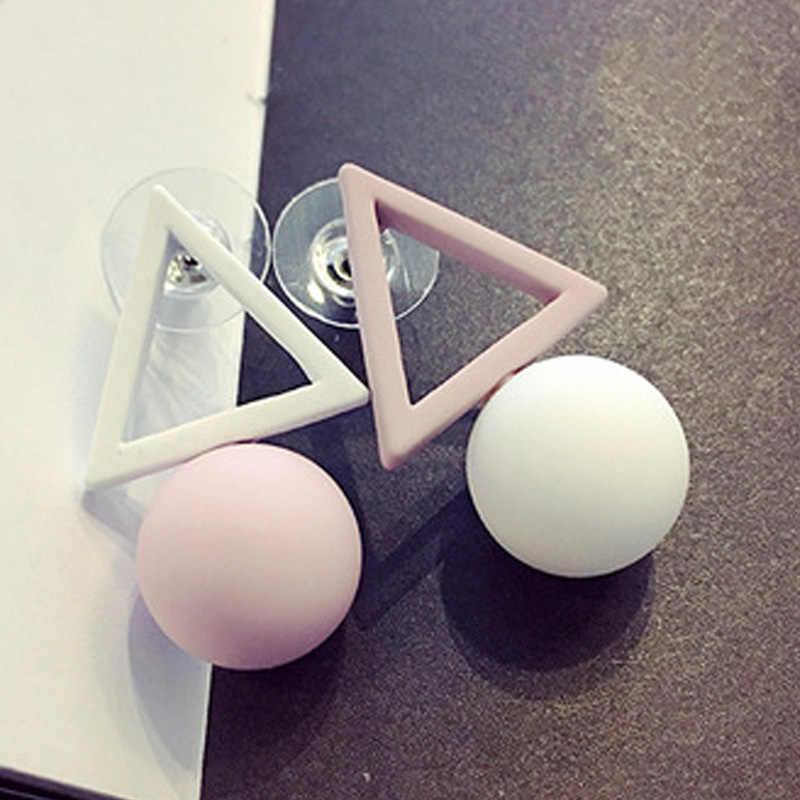 LNRRABC Fashion Ball Triangle Different Candy Color Earrings For Women Engagement Stud Earrings Brincos Luxury Jewelry